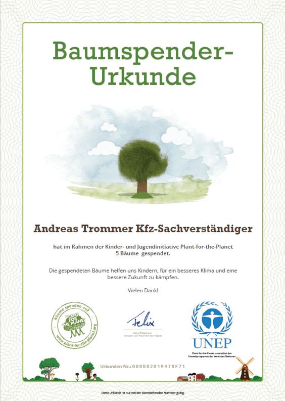Baumspender-Urkunde - Andreas Trommer - Kfz-Sachverständiger Ratingen
